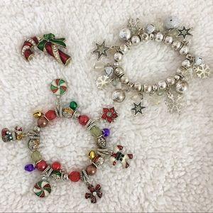 Holiday Christmas Bracelets Pin Set of 3 Enamel